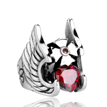 Men custom made Gothic Red Rhinestone Heart Cross Wing Helmet Stainless Steel Skull Model Ring