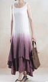 Ombre/dip dye/tie dye Long Maxi linen Dress,pleated/crinkled women dress