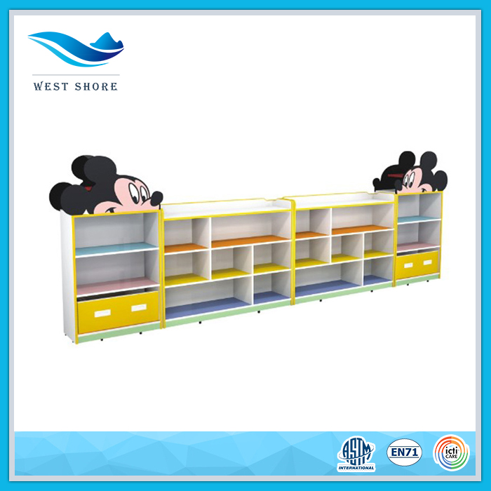 Cartoon Mickey Mouse kids furniture wood cabinet wooden cube storage home furniture