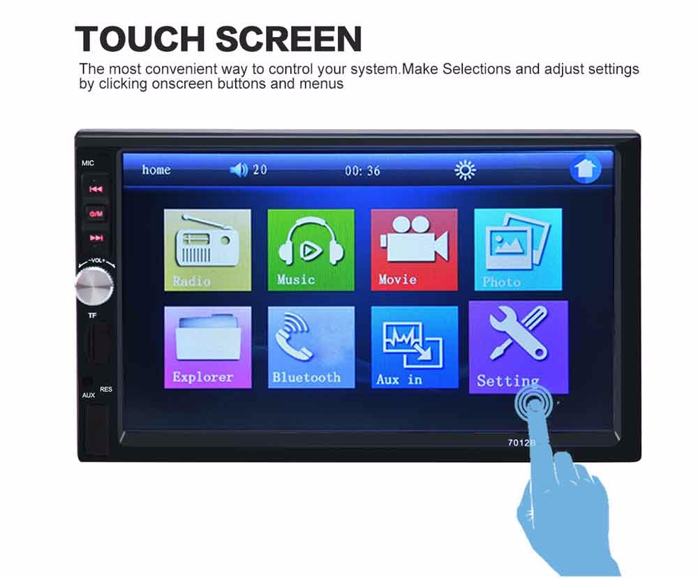 Rear Camera 7 Inch Bluetooth TFT Screen Car Audio Stereo MP5 Player 12V Auto Support AUX FM USB SD MMC JPEG,WMA,MP4