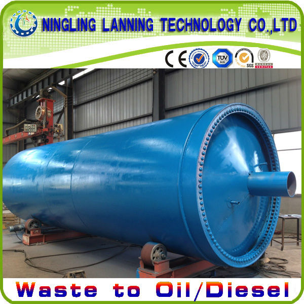 The Production Line for pyrolysis Scrap Tire/Rubber/Plastic to crude oil Directly