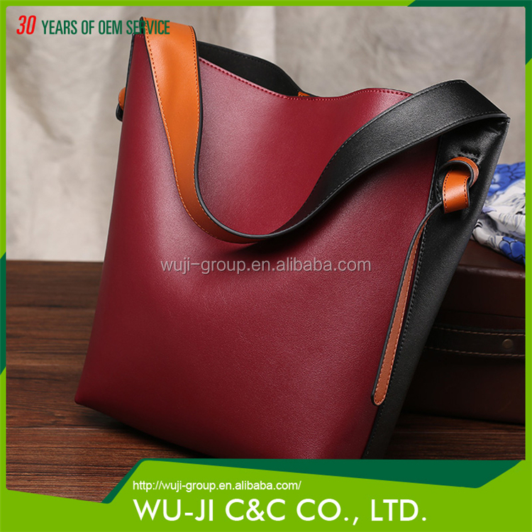 Top Grain Lady Leather Women's Color Block Hobo Leather Tote Bag
