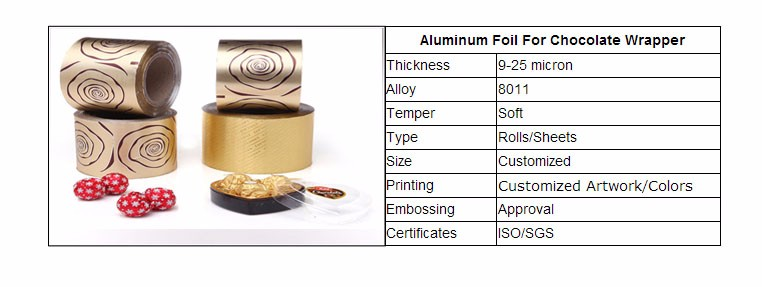 food grade aluminium foil for chocolate candy wrapper