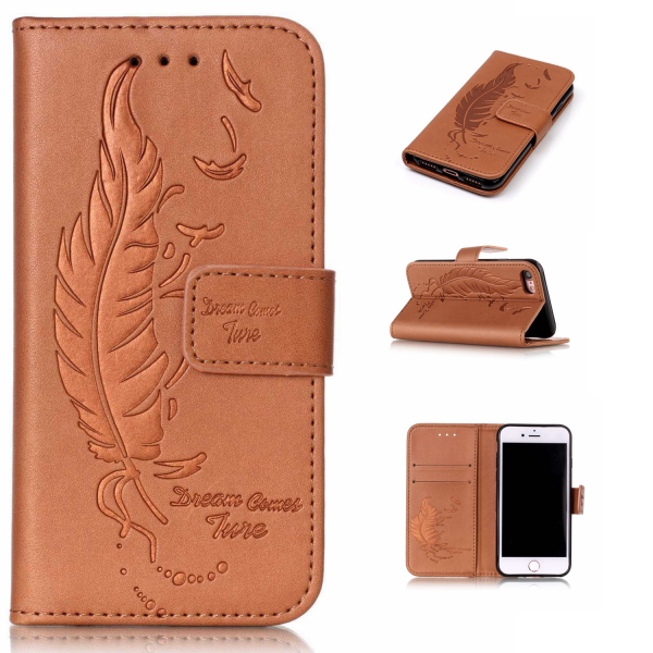 Phone <strong>accessories</strong> embossed style wallet leather flip case for iPhone 7 pu leather pouch stand wallet case with card slots