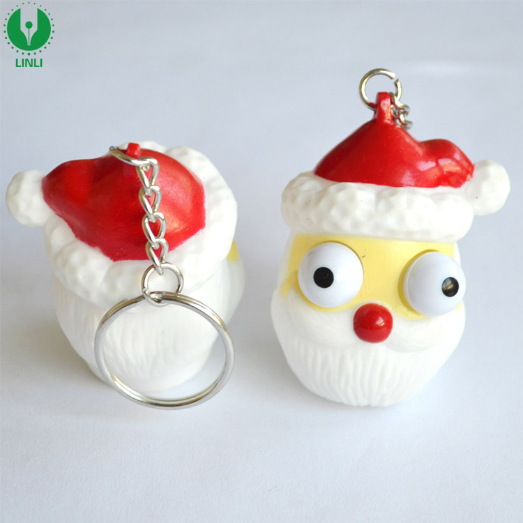 Supply Soft PVC Santa Claus Eye Pop Out Squeeze Keyring Toy