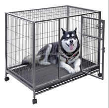 Home & Garden metal square tube dog kennel strong heavy duty dog cage with big wheels for USA market