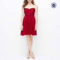 2015 red sleeveless sweetheart knee-length chiffon charming dress for bridesmaid