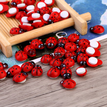 100pcs/Bag DIY Stickers Wood Ladybug Ladybird Sticker Adhesive Back Indoor Plant Fridge Wall Sticker Home Decoration Accessories
