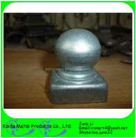 Decorative wrought iron wooden fence post cap