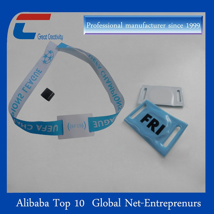 Wholesale high secure fabric wristband with plastic fastener