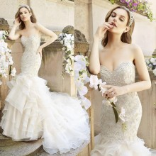 Net Organza Beaded Mermaid Dicisoria Wedding Gowns Bridal