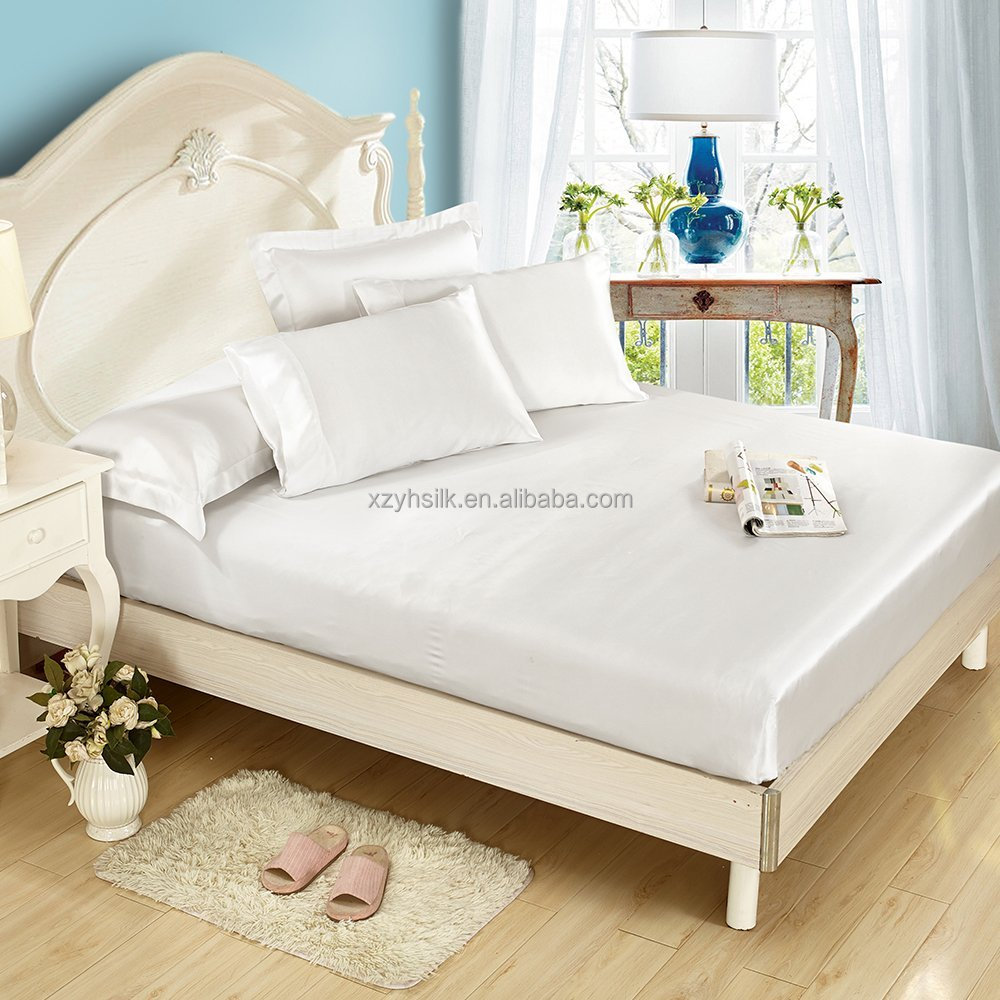 Seamless Luxury Mulberry 25 Momme Silk Bedding Sets 4pcs White King