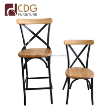 Cross Back Metal Bar Stool High Chair Wooden Top Iron Bar Furniture For Heavy People