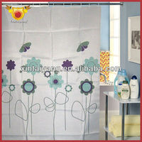 Color Flower With Butterfly Shower Polyester The Curtain