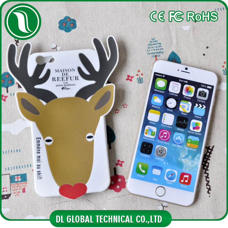 Christmas reindeer antler silicone 3d cover white soft rubber case for iphone 6s