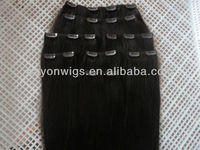 Lovely ! wholesales malaysian human hair clip in hair extension natural color 14inch straight