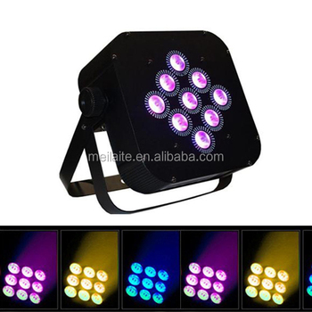 DMX 512 9x8w 4in 1 flat battery led light