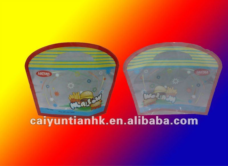 90 gr top open plastic fast food packaging bag with special shaped
