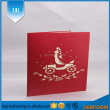 Wholesale elegant art paper embroidered wedding card