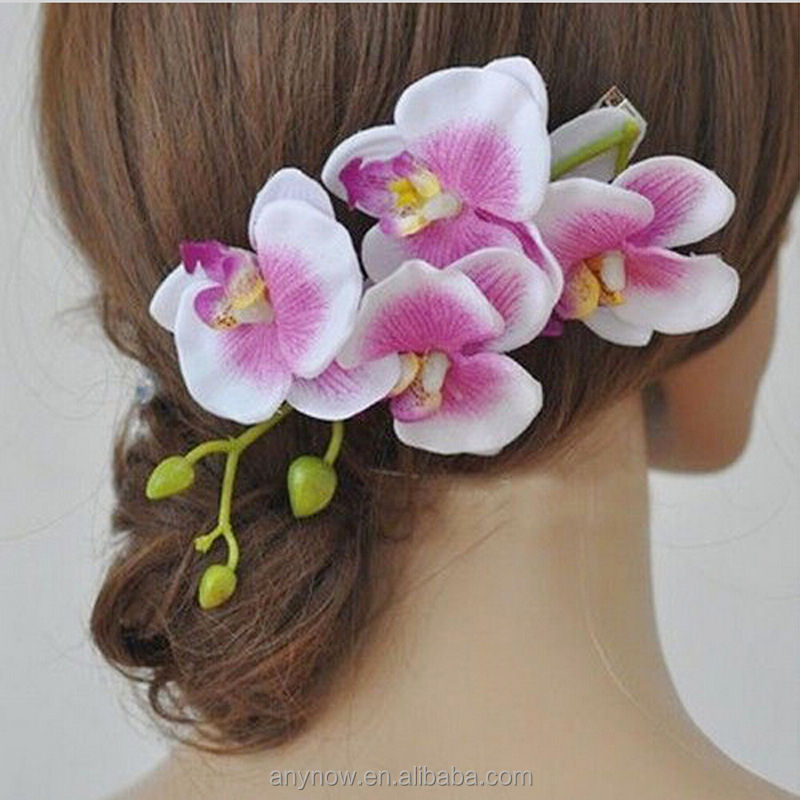In stock women artifical party wedding beach decor flower hair clip bridal