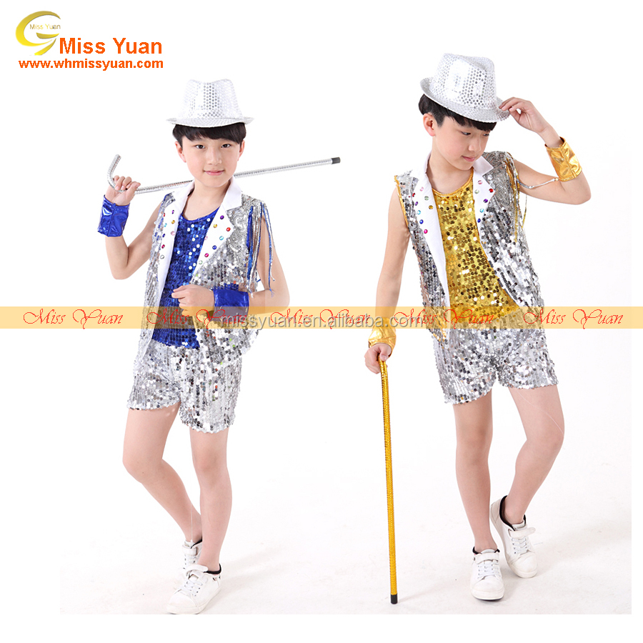 Yellow Blue Sequins Kid Jazz Hip-Hop Boy Dance Wear