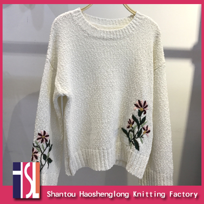 New style ladies embroidery pullover sweater manufacturer