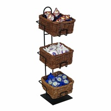 Retail shop counter 3 tier snack food wicker basket metal wire display stand
