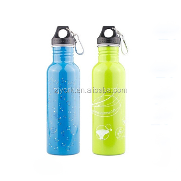 750ml cold water bottle screwd loop lid single wall stainless steel customized drinking bottle