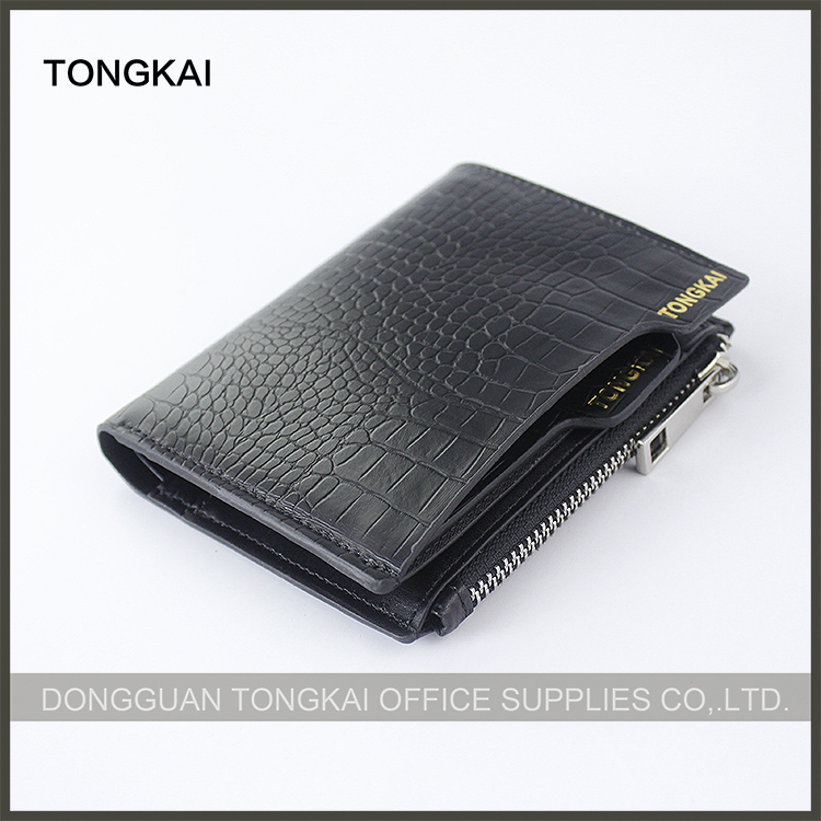 Short black crocodile grained leather cool wallets for men