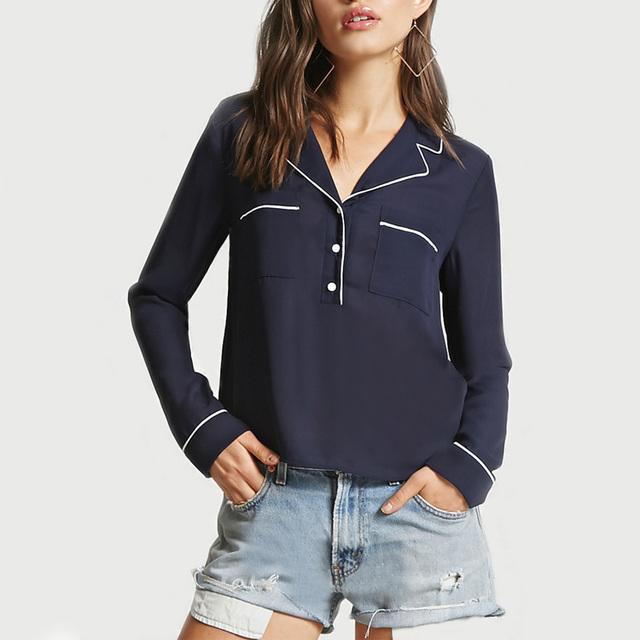 women navy burnout long sleeve contrast trim shirt button up shirt women burnout shirt