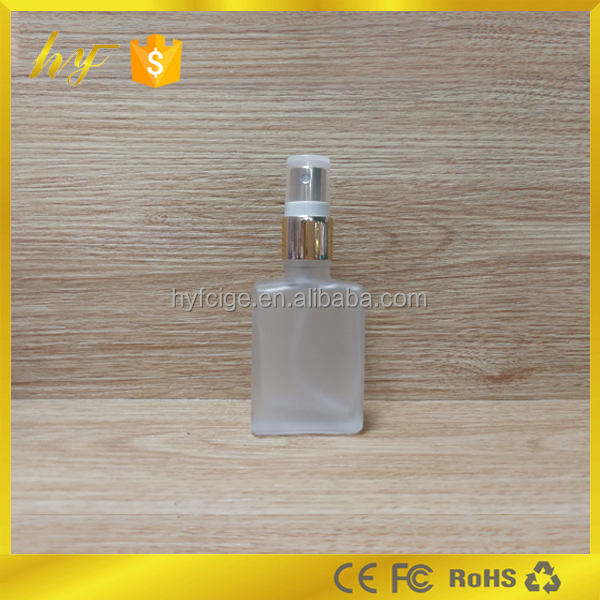 hot sale product in USA and Europe 30ml rectangle frosted clear perfume bottle
