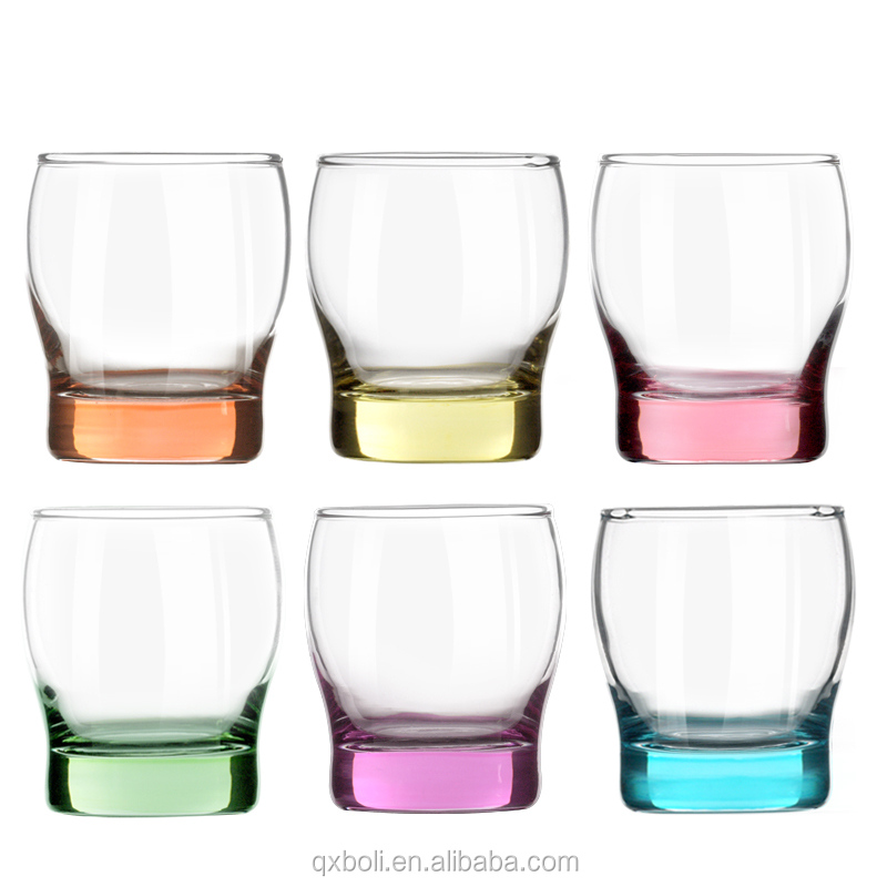 colored glass tumblers/whisky glass set/thick bottom whisky glass