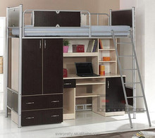 Modern Dormitory Iron Metal Bunk Bed With Stairs, Customized Living Room Furniture Bed