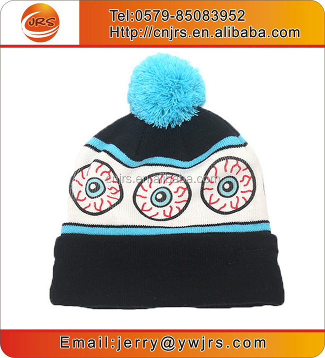 Wholesale custom embroidered knitted pom beanie hat sports team beanie hat