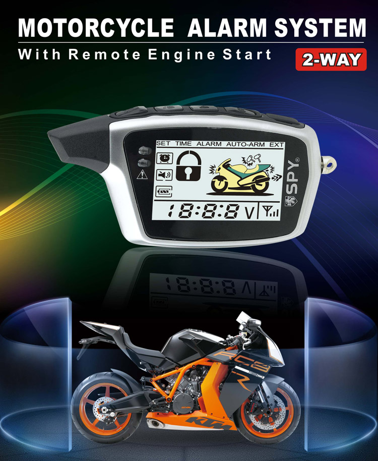 SPY safeguard 2 way motorcycle alarm system with Aniti-hijacking Function