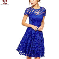 2016 Fashion Round Neck Fat Women Lace Dress Patterns, Women Casual One Piece Flapper Dress