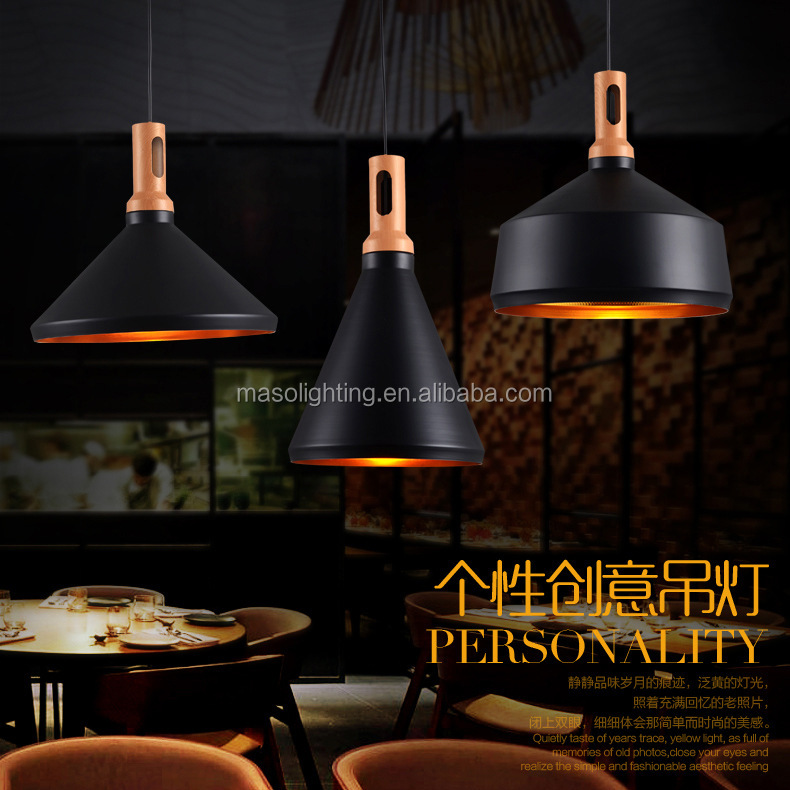 Modern Nordic Wooden Iron Chandelier Pendant Lamp Dinning Room Personality Wooden Lights Diamond Cone Novelty Ceiling Lights