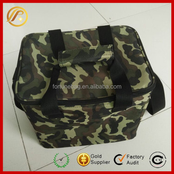 Custom promotional 600D polyester camouflage insulated cooler bag