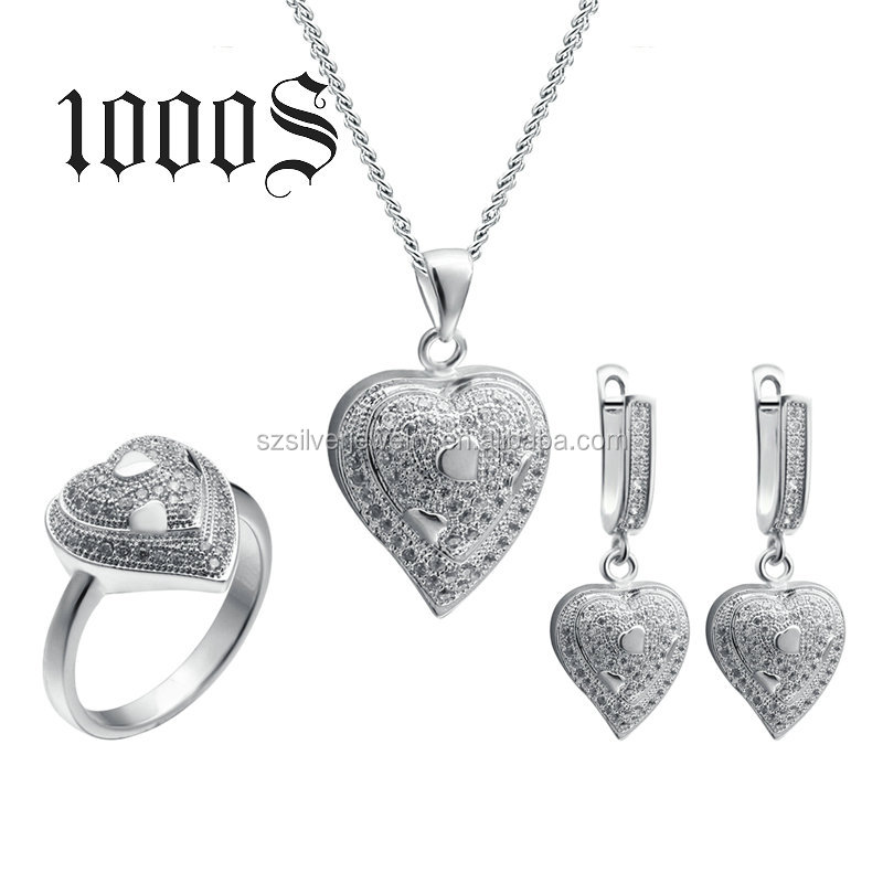 Heart Shaped Indian Cubic Zirconia Jewelry Necklace Set 925 Sterling Silver Jewellery Set
