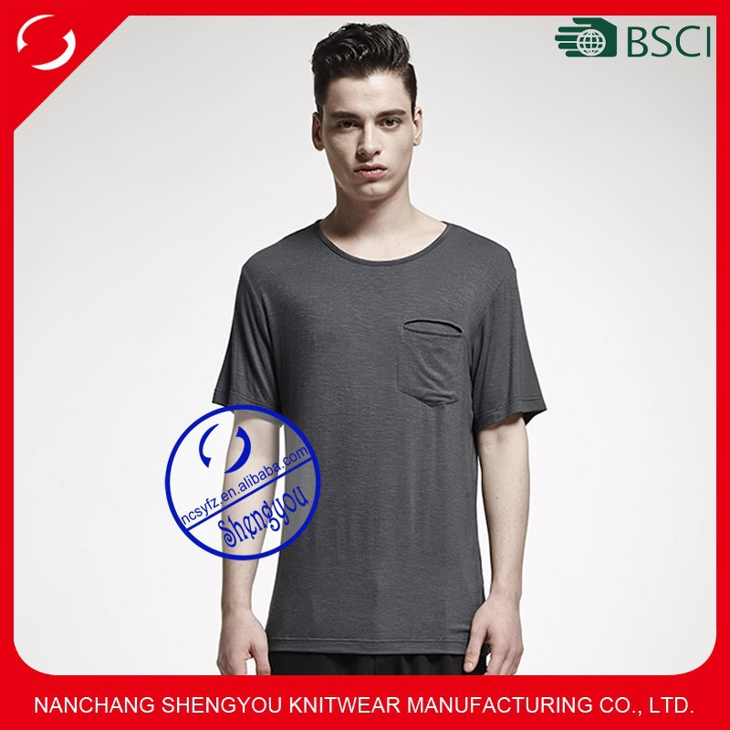 Custom mens blank t-shirts 60% cotton 40% polyester with pocket