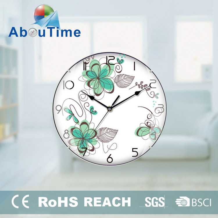 unique special clocks wall Plastic Wall Clock with glass frame /clock pendulum mechanism