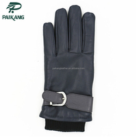Paikang knitted cuff genuine sheep skin leather gloves with belt buckles