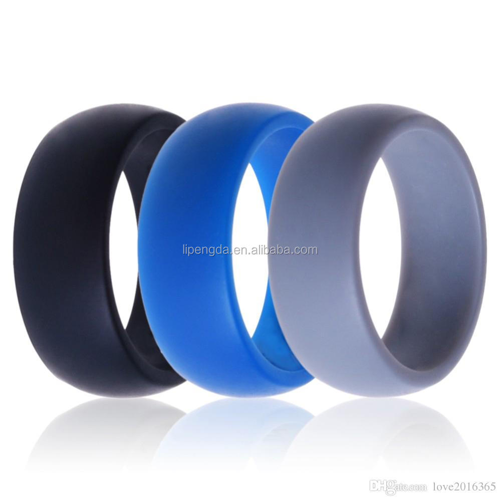Size 9 12 9mm Multi Color Hypoallergenic Crossfit Silicone Rubber Flexible  Ring Band Wedding Engagement Finger Men Ring