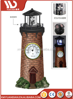 Solar Lighthouse Garden Stake Light with Revolving Beacon Garden Sunlight Solar Lighthouse Garden Decoration with thermometer