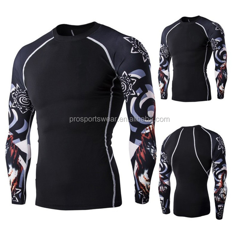 2016 OEM European style New Fashion Casual Men's Round Neck Long-sleeved Fitness Digital Printing Fast Drying Wear