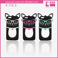 Lovely 3D Glasses Cat Silicon Case For iPhone 5/6/6 Plus Cellphone Case