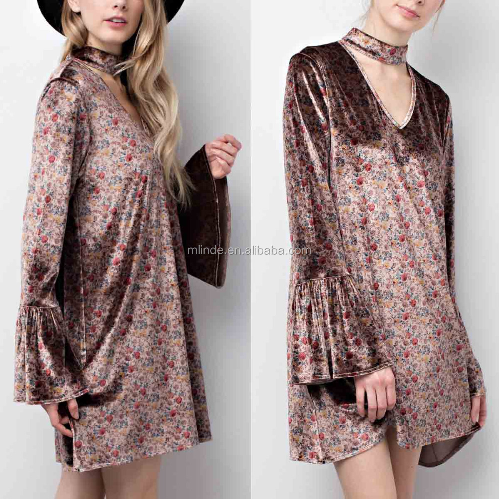 Cheap Fashion Long Sleeve Women Short Flare Brown Floral Shift Dress Wholesale
