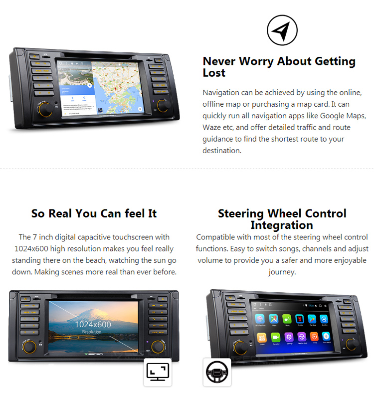 EONON GA8201A for BMW5 (E39) Android 7.1 Octa-Core 2GB RAM 7 inch Touchscreen Car DVD Radio Stereo GPS Compatible with HDMI