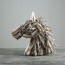 White Wash Driftwood Horse Head Artist Sculpture for Living Room Decor