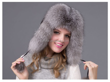 Classic Real Fox Fur Russian Earflap Hat Pattern Fashion New Arrival Big Size Silver Fox Fur Russian Winter Hat